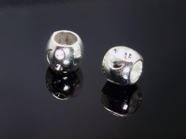 Schiebeperlen DENO 8x9mm silberfarben Loch 5,2 mm 1 Stück