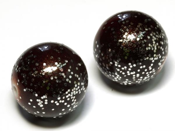 Acrylperlen Kunststoffperlen TINTRA braun mit Glitter 20 mm
