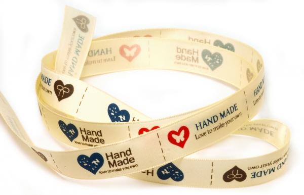 HAND MADE Label Etikett Stoff beige 20 Stück