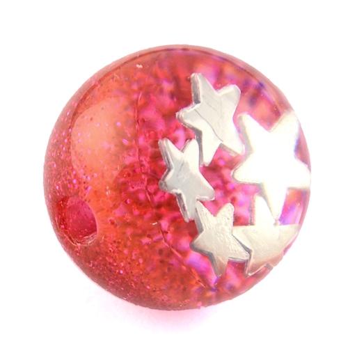 Acrylperlen Kunststoffperlen PEA ca.21 mm rot Glitter, 3mm Loch nicht mittig