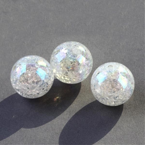 Acrylperlen Kunststoffperlen TORID-AB weiß-crash ca. 20 mm