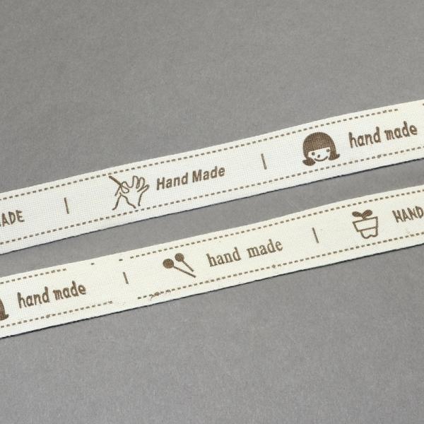 Label Etiketten Hand Made aus Baumwolle Beige 50x15mm - 12 Stück