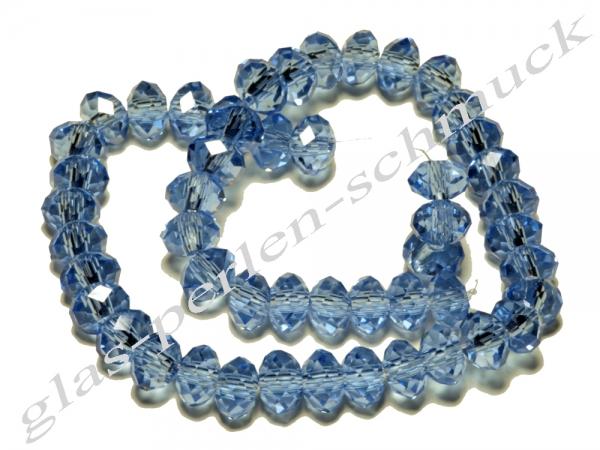 Glasschliffperlen, Glasfacetterondelle, saphirblau, 6 x 4 mm, 50 Stück