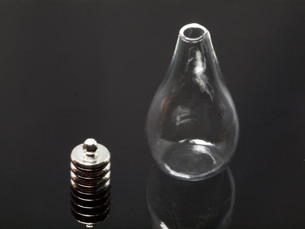 Glastropfen Hohlkugeln zum selbst befüllen, 30x18 mm 1 Stück Kugeln + 1 Stück Deckel silbern