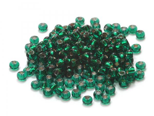 Rocailles, Böhmen, smaragdgrün silber inside, Ø ca.2,9mm, 50 g
