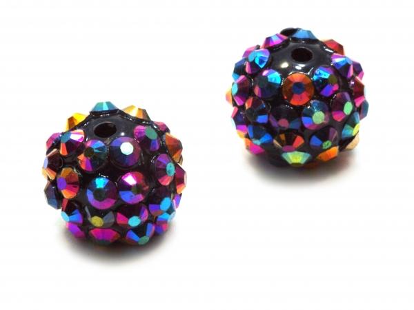 Resin Strass Perlen Chunky, 12mm rund, Schwarz Lila AB - 1 Stück