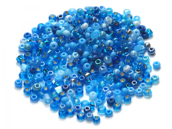 Rocailles, Böhmen, MIX Sarah blau, Ø ca.2,3mm, 50 g