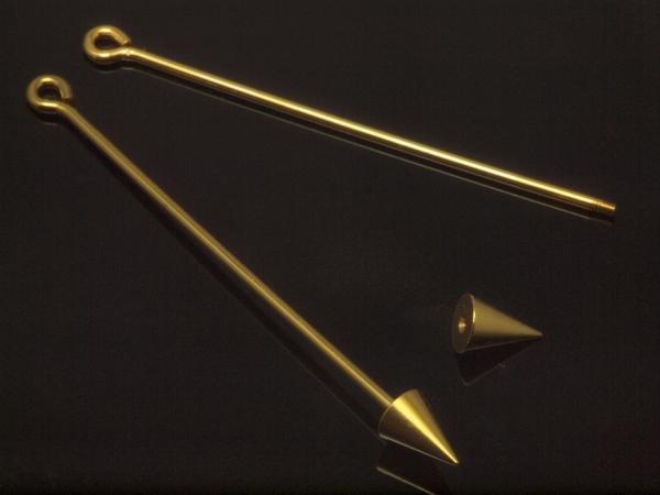 Wechselstäbe, Endteil-Spitze klein, Länge 60/47 mm,vergoldet