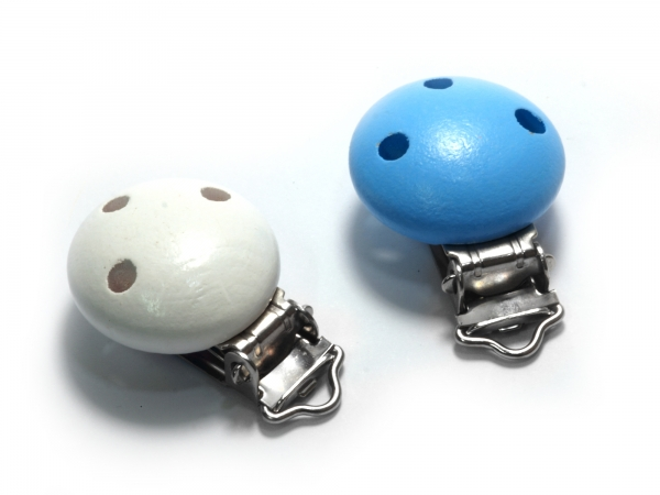 Schnullerclips mit Holzperle, Clip zum Schnullerketten basteln, blau & weiß - 1 Stück