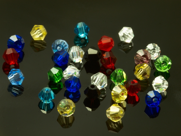 Glasschliffperlen, Bicone, 4 mm, Multicolor - 30 Stück