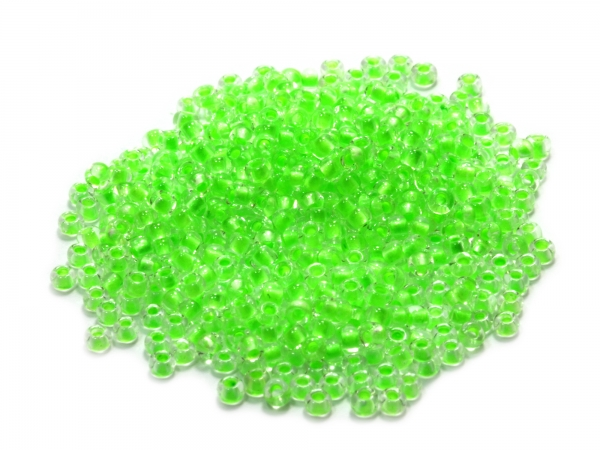 Rocailles, Böhmen, transparent neon green inside, Ø ca.2,1mm, 50g