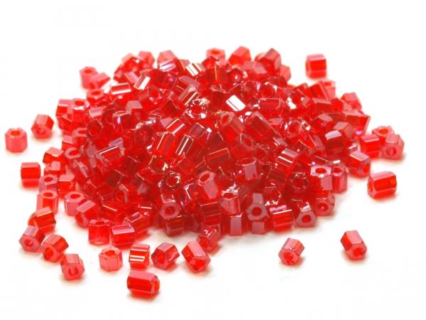 Rocailles, Böhmen, 2-cut, rot, ca. 2,1 - 10/0 mm, 50 g