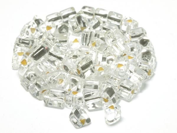 Rocailles, Böhmen, Triangles TrH klar silbereinzug, ca. 2,5 mm, 50 g