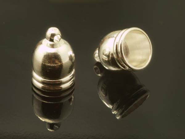 Endkappen, LOIC, silbern, 10 mm, innen 8,2mm 1 Paar