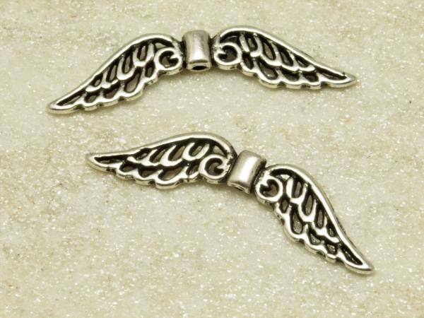 Engelflügel,Metallperlen, ENIZ I, 32 x 6 mm, leicht geschwärzt, 1 Stück