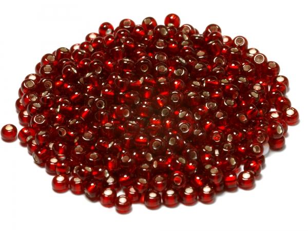 Rocailles, Böhmen, rot transparent silbereinzug, ca. 1,9 x 1,3 mm, 50 g