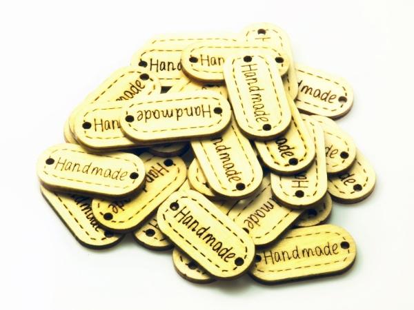 HAND MADE Natur Holz KNOPF Label Schild zum annähen 30 Stück