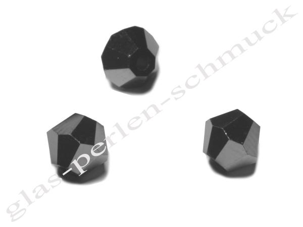 Glasschliffperlen SURI, Doppelkonus, schwarz-hämatit, 6 mm - 10 Stück