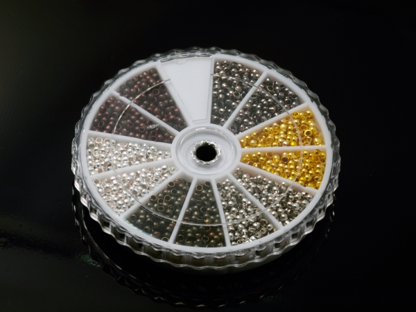 Quetschperlen, Crimp Perlen, 6 Farben, 2 mm, ca.36g - 3000 Stück