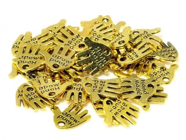 Metall-Anhänger HAND, Charms, -Hand Made-, 13 x 12 mm, goldfarben- 25 Stück