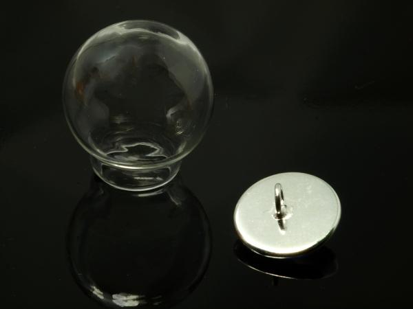 Glashohlkugel ENA 20 mm Deckel silbern