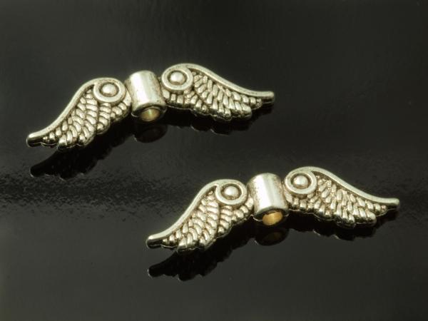 Engelflügel, ILKA-II, Metallperlen, 22 mm, silbern-geschwärzt, 1 Stück