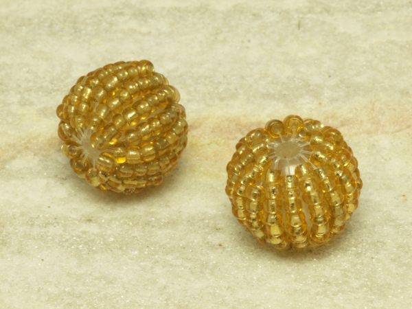 Perlen, Kunststoff mit Rocailles, 16 mm, goldgelb, 1 Stück