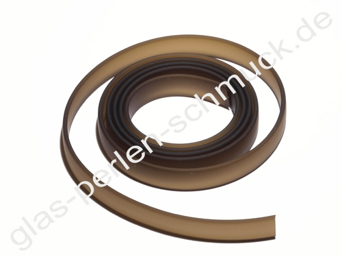Kautschukband,flaches PVC-Band, 10 x 2 mm, braun, Länge 1 m