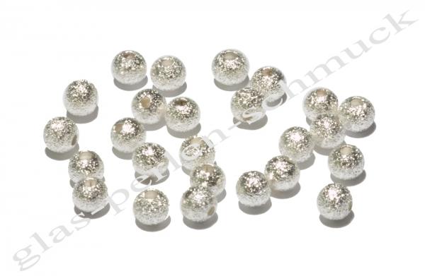 Metallperle, diamantiert, rund, 4 mm, 50 Stück