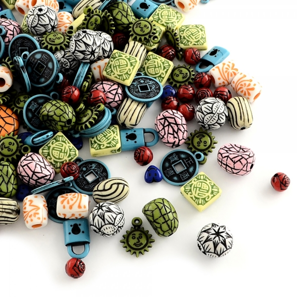 Mixed Antik Style Acryl Perlen Holzimitat, Gemischte Farben - 25g, ca. 40-65 verschiedene Teile