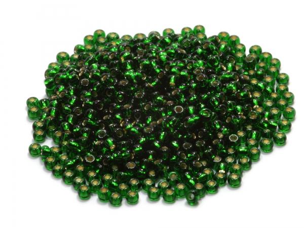 Rocailles, Böhmen, grün transparent silber inside, Ø ca.2,1mm, 50g