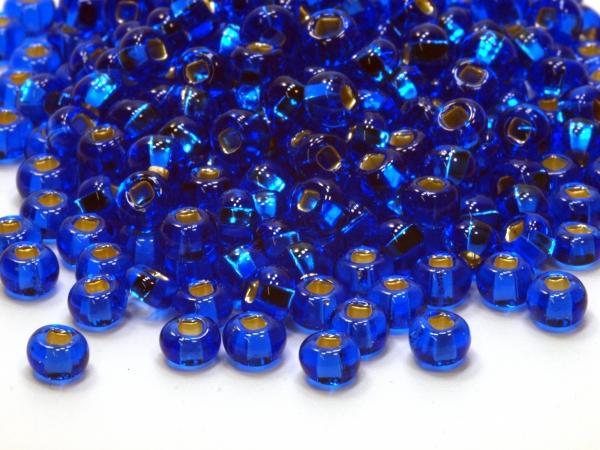 Rocailles, Böhmen, dunkelblau Silbereinlage, ca. 4,6 x 3,1 mm, 50 g