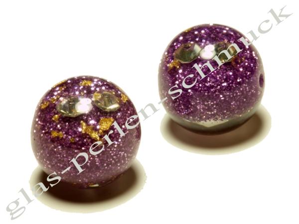 Acrylperlen, MICARE, lila, innen verziert mit Glitzer-Effekt und Strass ± 16mm