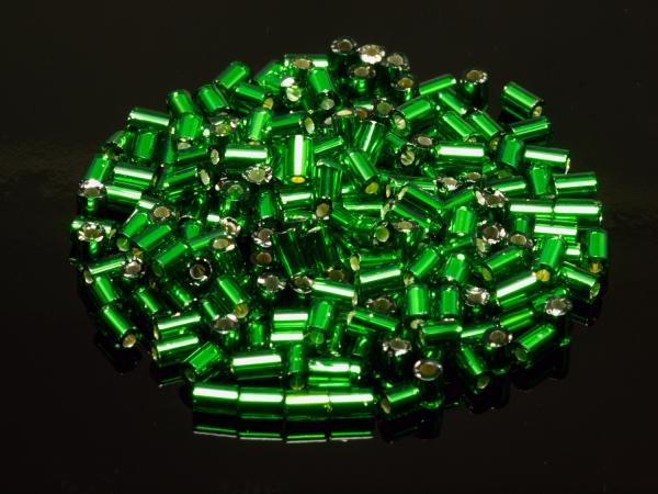 Rocailles, Böhmen, Tubes grün silbereinzug, ca. 1,9 mm - 11/0, 50 g