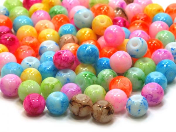 Glasperlen HANA 6 mm multicolor Mix marmoriert - 29.2g, ca. 100 Stück