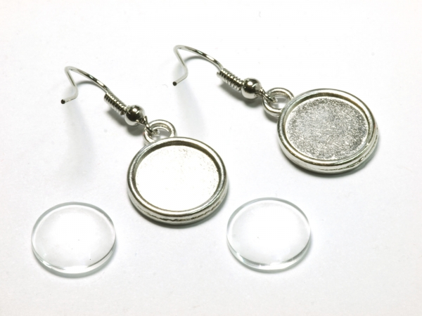 Cabochon Ohrring Set Hänger mit Fischerhaken 12 mm 1 Paar